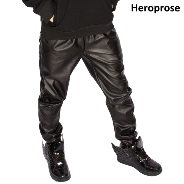 New 2017 Fashion faux leather harem pants men slim skinny pants men hip hop pants casual fashion elastic waist pants 1