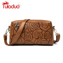 купить Female Messenger Bags Ladies Women Soft Leather Flower Print Shoulder Bag Sac A Main Vintage Crossbody Bags For Women Flap Bag по цене 1240.75 рублей