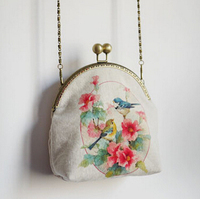 15 Vintage Mori Mouth Gold Flower Mini Bag Mobile Phone Card Key Casual Women S Handbag