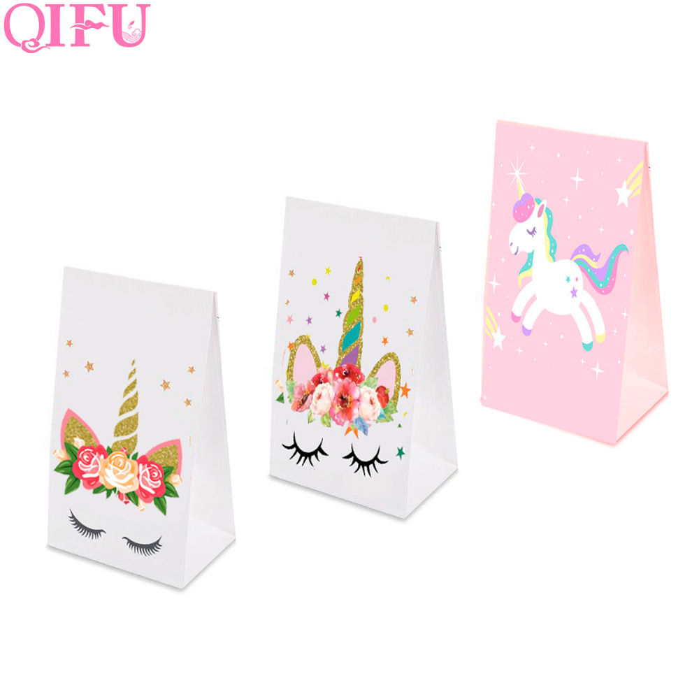 QIFU Unicorn Gift Bag With Handles Wedding Candy Bag Cookie Baby Shower Birthday Party Unicorn Bread Gift Bag Wrapping Supplies