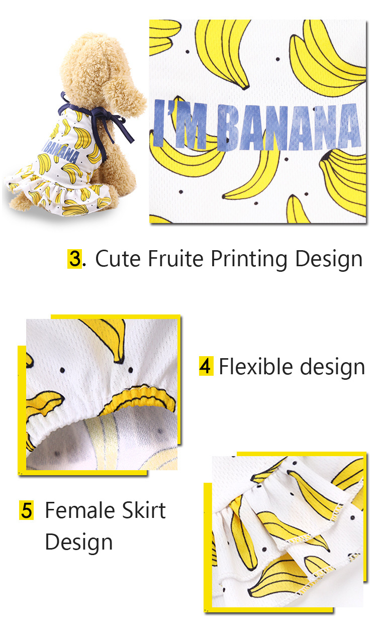 Fruit Print Little Dog Summer Dress (6)