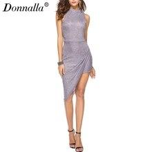 Donnalla Для женщин осень платье без рукавов O Средства ухода за кожей Шеи Асимметричный вязаный Женственная Дамская обувь Тонкий клуб Платья для вечеринок M-2XL женская одежда