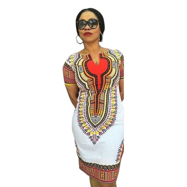 61ceaeab476 2016 New Women Casual Summer Dress Sexy African Tranditional Print Ladies  Vintage Dresses White Dashiki Bodycon Dress Clothing