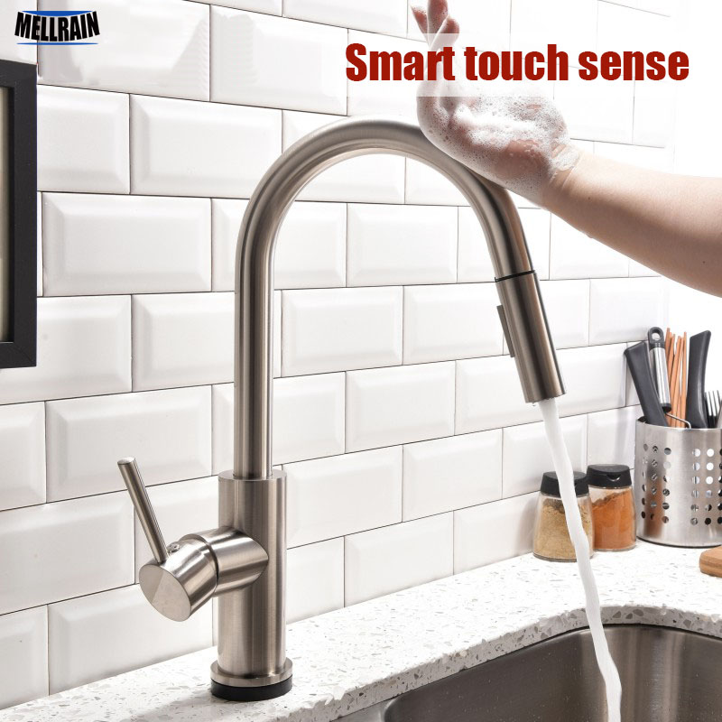 Smart touchless sense kitchen faucet pull out double water setting Solid brass sink hot and cold