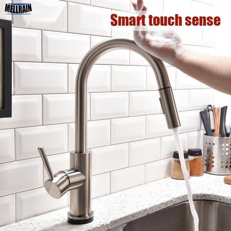 Smart touchless sense robinet de cuisine tirer double réglage de l'eau en laiton massif évier eau chaude et froide mélangeur pont monté robinet