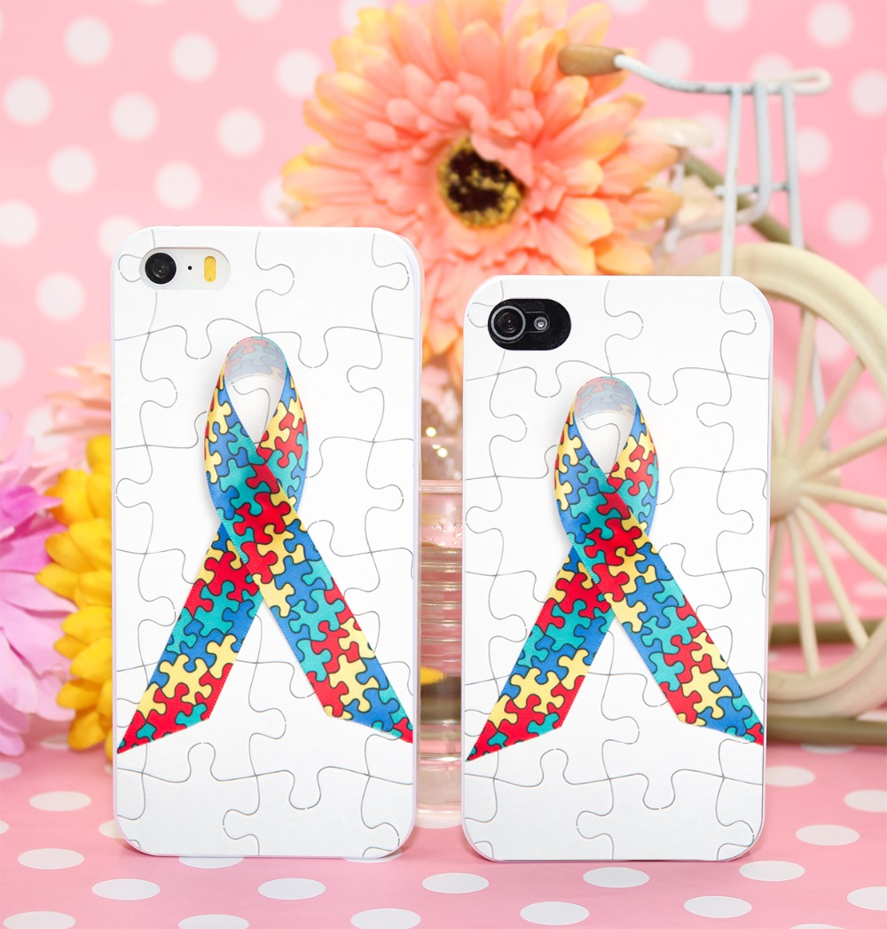 Free Shipping Puzzle Autism Awareness White Hard phone Case Cover for iPhone 4 4s 5 5s 5c 6 6s plus gift