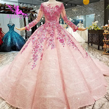 AIJINGYU קיסרי חתונה שמלות שנהב שמלות מוסלמי עם גבישים פרחוני חנות זנב שמלת נצנצים טול שמלה ארוך