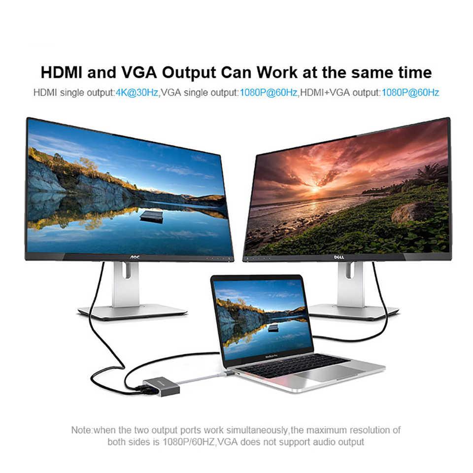 QGeeM USB C HDMI VGA Adapter USB Type-c to HDMI 4K Male to Female for MacBook Pro ChromeBook Huawei P20 galaxy S9 USB C HDMI