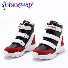 Princepard 2018 autumn orthopedic shoes for kids black sport shoes velvet lining Equipped with professional orthopedic insoles(China)