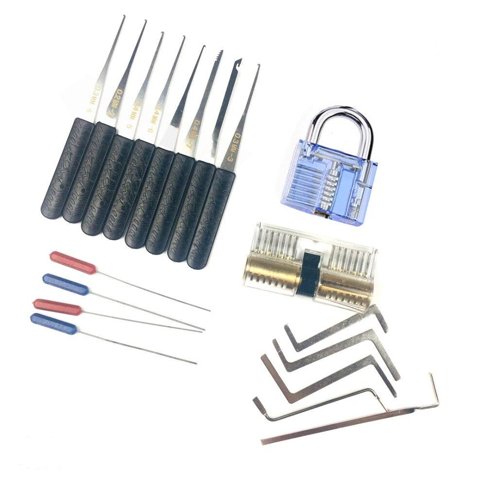 Kostenloser Versand Schlosser Spannung Wrench Werkzeug, Gebrochene Key Extractor Werkzeuge mit Transparent Praxis Pick Lock Kombination