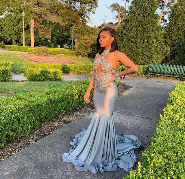 Sexy Halter Black Girls Mermaid Silver   Prom     Dresses   Long 2019 Beaded Applique African Backless Long Formal Evening Party Gowns