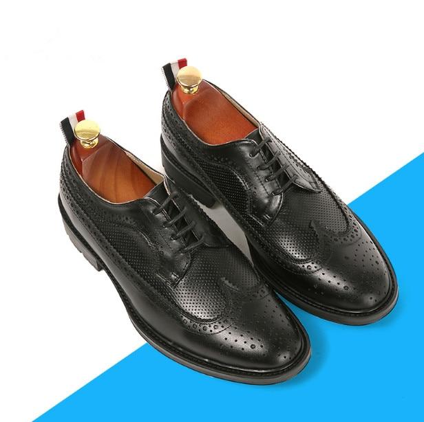 Oficina De Gran Brogue Pic Verano Tamaño Vestir Cuero Redonda Transpirable Zapatos Genuino Punta Del Hombres Guinga Negocios As Trabajo 6BqwaZIOKU