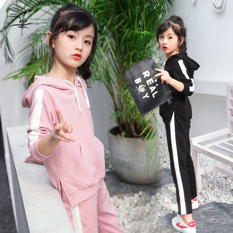 FYH Girls Autumn Spring Hooded Tracksuit Kids Clothing Set Children Long Sleeve Hooded Sweatshirt+Pants School Girls Sports Set fyh boys long sleeve sports set school boys casual printed suit hooded sweatshirt pants kids autumn clothes children tracksuit