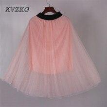 KVZKG 2017 Summer Casual Chiffon Mesh Skirt Pink Gray Elastic High Waist Fold A-Line Knee-Length Half Skirt Lady