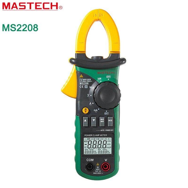MASTECH MS2208 Цифровой мультиметр True RMS клещи 0.01mA мультиметр Напряжение ток Мощность фазы угол тестер