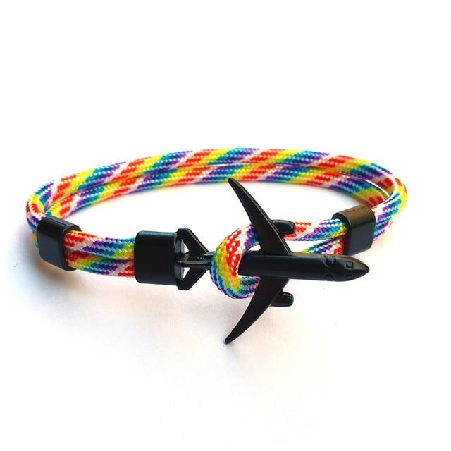 2019 New Boeing Airplane Men Anchor Bracelet Rope Chain Black Charm Bracelets For Women Male Survival Aviation Style Sport Hooks 3