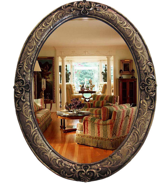 Oy 413 Large Oval Antique Vintage Decorative Bathroom Wall Mirror Frame Polyresin Fancy