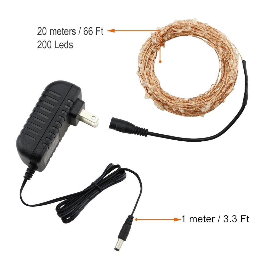 Cable blanco cálido 20M / 30M / 50M Alambre de cobre 200/300/500 - Iluminación exterior - foto 3