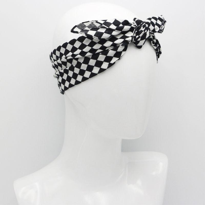 White Black Checkered Flag Racing Bandana Unisex Multi-Use Square Headband Motorcycle Outdoor Sports Hair Wrap Wristband 55x55cm