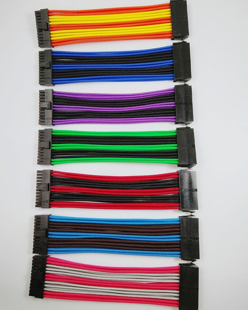 ATX MB 24PIN Weiblichen zu Männlichen 20 + 4 P 18AWG NETZTEIL Verlängerungskabel schnur/kabel mit schwarz rosa rot blau lila grün orange Sleeving