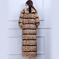 Нерадзурри леопардовая расцветка пальто с искусственным мехом женские взлетно посадочной полосы очень длинный пушистый Элегантные зимние