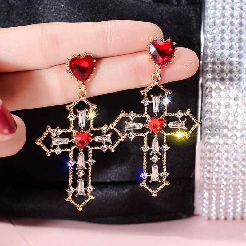 MENGJIQIAO 2018 New Baroque Style Statement Crystal Heart Vintage Drop Earrings For Women Fashion Temperament Party Big Earring