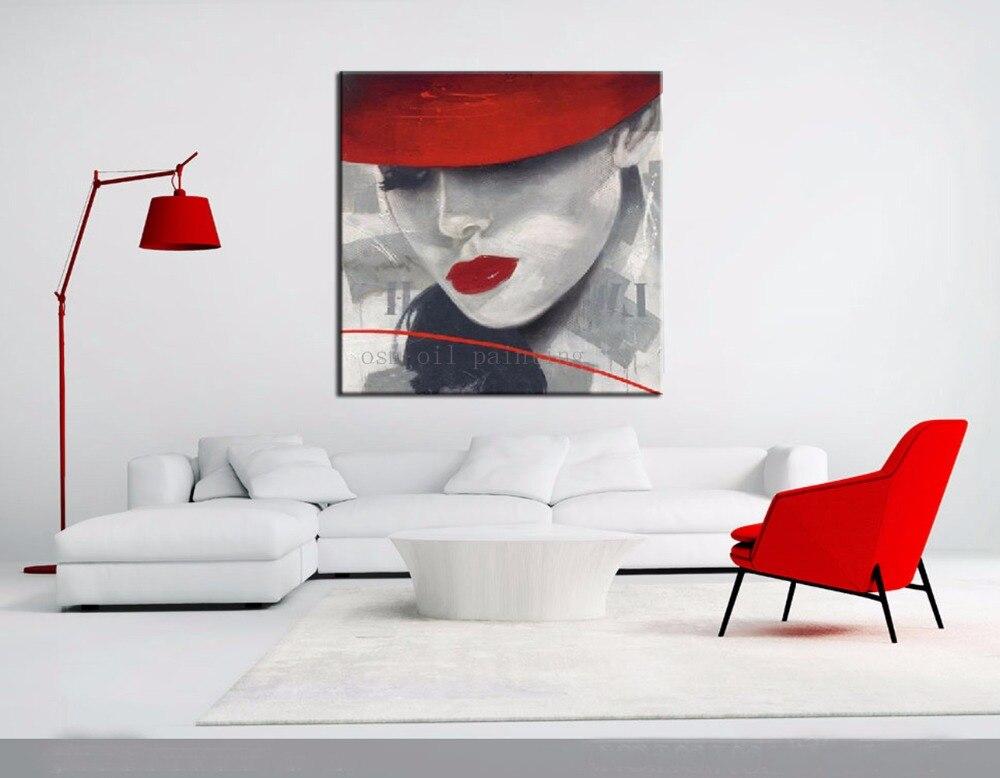 100% Handgemaltes Modernes Abstraktes Heiße Sexy Dame Modell Gesicht Öl malerei auf Leinwand Reine Handgemachte Sex Frau mit Roten Hut Bilder