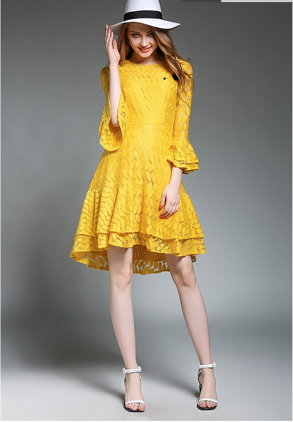 Hot Selling Girls Fashion Quality Design Yellow Lace -1389