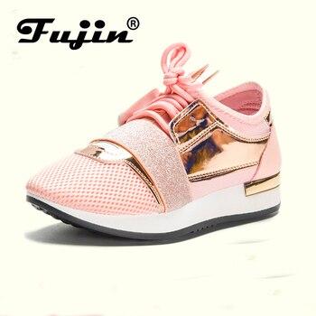 Fujin nuevo 2019 de Moda de Primavera de las mujeres zapatos casuales zapatos de Pu zapatos de plataforma de cuero zapatillas de deporte de mujer señoras formadores Chaussure Femme