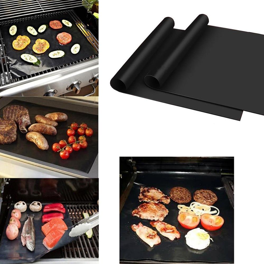 2PCS/lot Black Baking Mat BBQ Cooking Mat Reusable