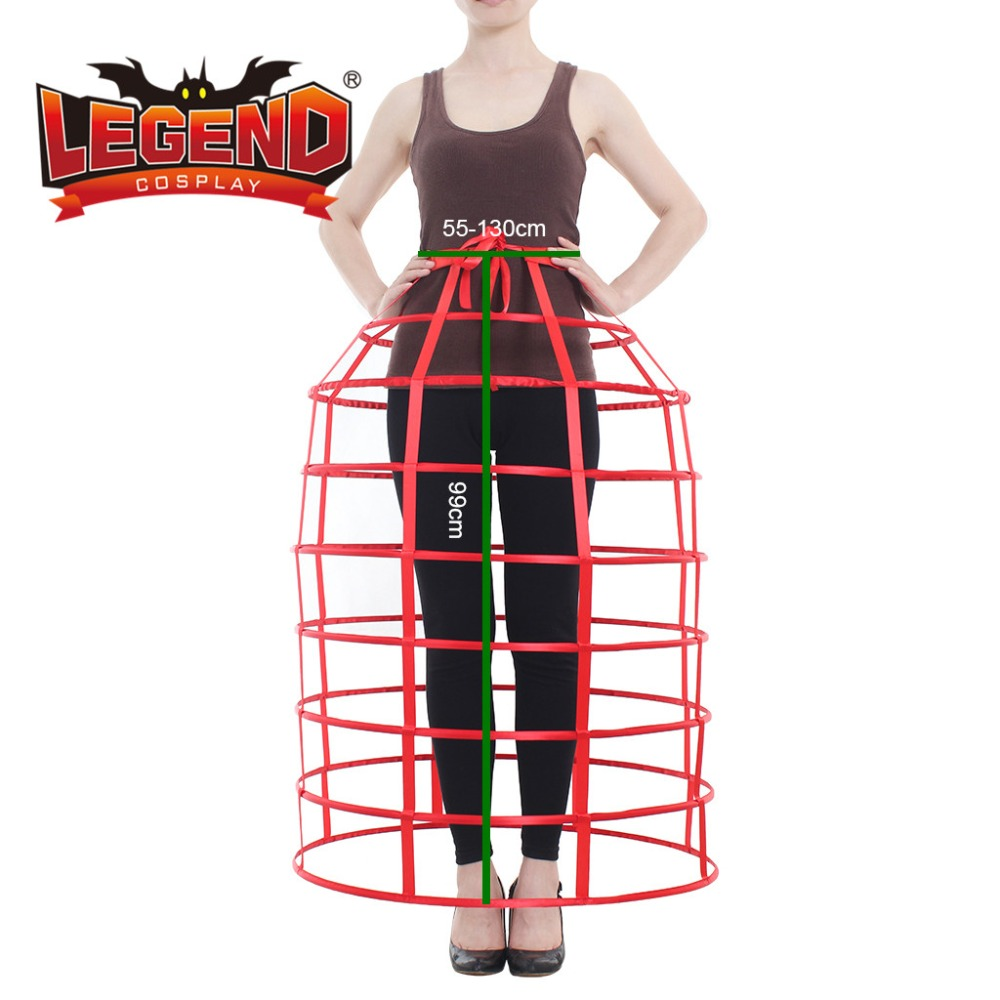Red hoop cage skirt long pannier boned crinoline