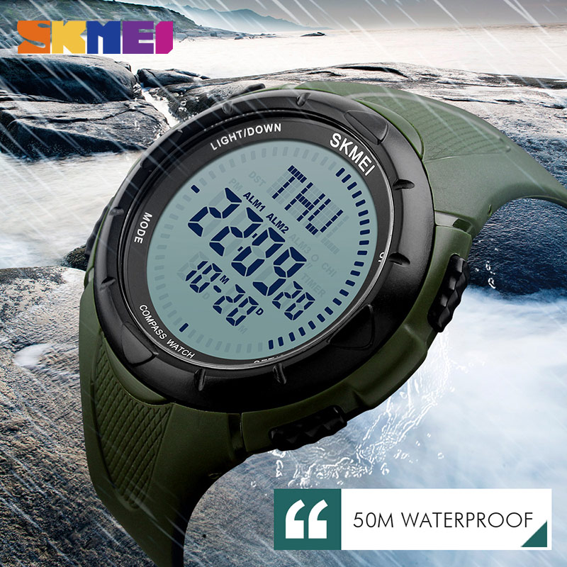 Skmei Men Sports Watches World Time Compass Countdown Smart Wristwatches Waterproof Alarm Digital Watch Relogio Masculino 1232 Men's Watches Digital Watches