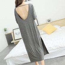 women sleep dress sexy 2019 summer new aunt backless nightdress modal cotton short sleeved long dress sleepwear home clothing
