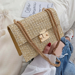 Elegant Female Flap Square Bag 2019 Summer New Quality Straw Women's Designer Handbag Lock Chain Travel Shoulder Messenger Bag