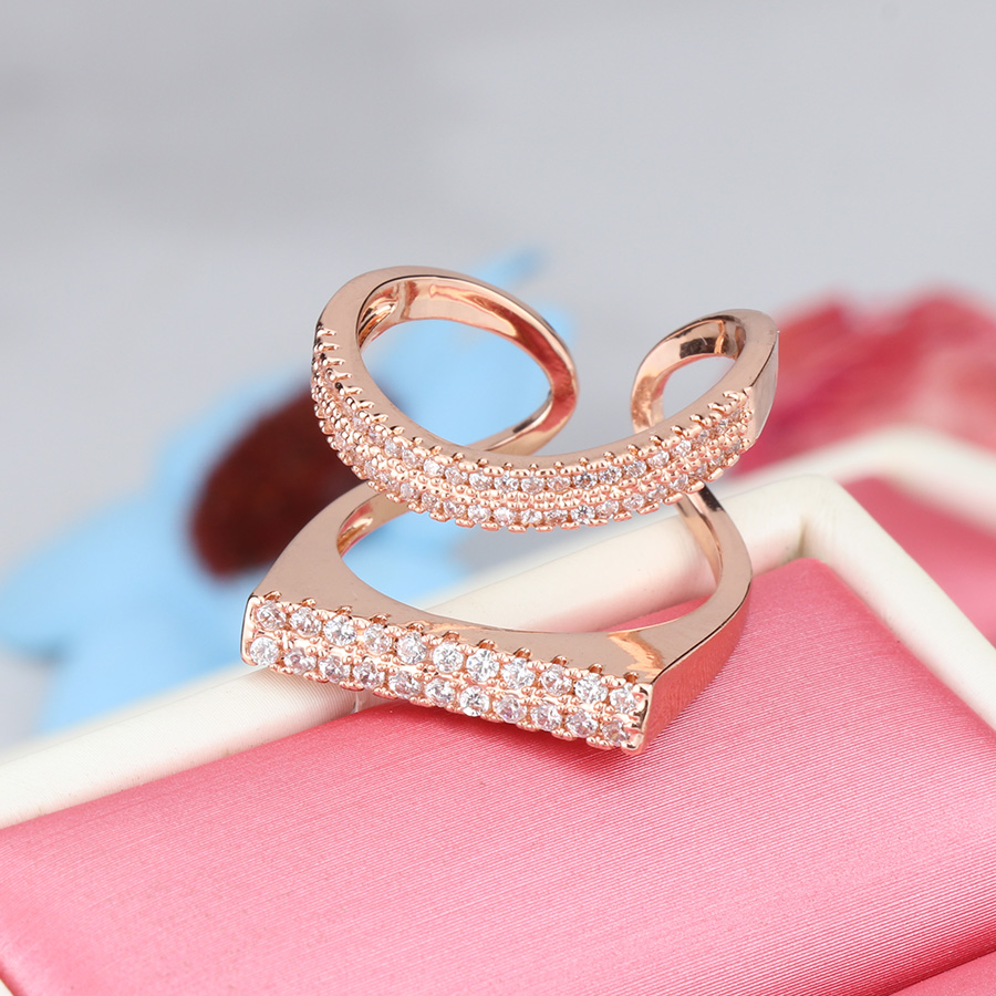 Kinel Luxury Rose Gold Ring For Women Double Row Hollow Mosaic ...