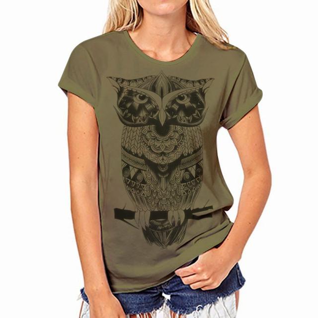 Printed t-shirt for women – Green owl