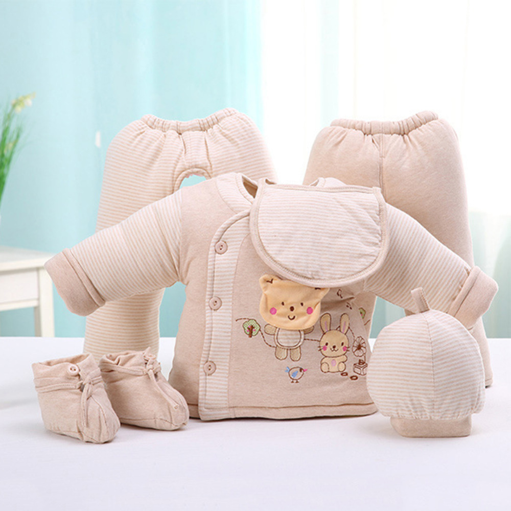 Winter Newborn Baby Clothing 6Pcs/Set Thick Underwear Clothes Outfit Suit Cotton Cute Cartoon Pattern For 0-1Y Infant cotton baby rompers set newborn clothes baby clothing boys girls cartoon jumpsuits long sleeve overalls coveralls autumn winter