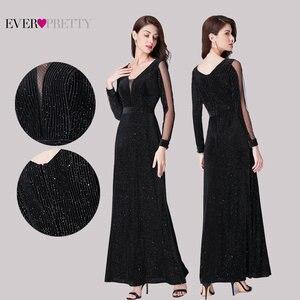Image 2 - Черное вечернее платье с длинным рукавом Ever Pretty EP07394BK элегантное осеннее длинное вечернее платье Русалочки Robe De Soiree 2020