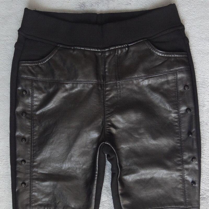 Image 2 - Plus Size 4XL Rivets Stitching PU Leather Leggings Women Plus  Velvet Legging Pencil Pants Motorcycle High Waist Leggings C3930leather  leggingsleather leggings womenpu leather leggings