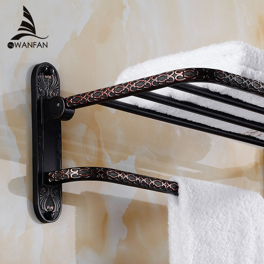 Bathroom Shelves Brass 2 Tier Towel Bars Rack Bath Holder Retro Carved Pattern Wall-mounted Bathroom Accessories Shelf FE-8701 bathroom shelves 5 towel hooks brass 2 tier rails towel bars wall shelf bath hangers bathroom accessories towel holder fe 8601