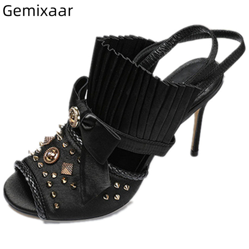 Black Satin Sandals Shoes Women Peep Toe Decor Pleated Shoes Satin Studded Metal Rivet Narrow Strap Thin High Heel Sandals WomanBlack Satin Sandals Shoes Women Peep Toe Decor Pleated Shoes Satin Studded Metal Rivet Narrow Strap Thin High Heel Sandals Woman