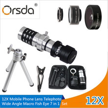 Cheap price Orsda 7in1 12x Zoom Optical Telescope Telephoto Lens With 0.36X Wide Angle 15X Macro 198 Degree Fisheye Kit Phone Camera Lentes