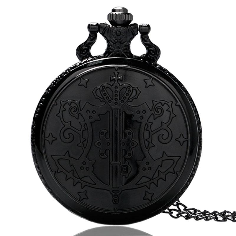 Retro Jewelry Fashion Japanese Kuroshitsuji Black Butler Sebastian Theme Pocket Watch With Necklace Chain Men Children Gift