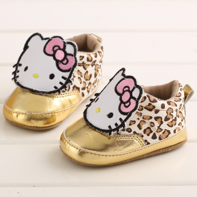 3cad84479 Newborn Baby Girls Sneakers Shoes Hello Kitty Soft Cotton Bottom Leopard  Anti-Slip Classic Loafer First Walkers Prewalkers Shoes