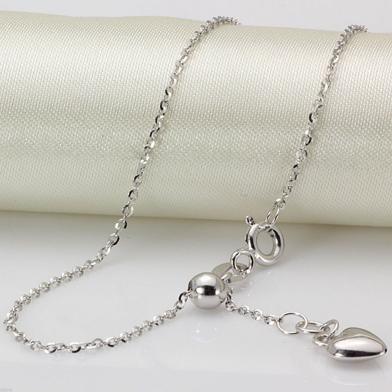 New Hot Solid Au750 18K White Gold Women O Link Chain Necklace AdjustableNew Hot Solid Au750 18K White Gold Women O Link Chain Necklace Adjustable