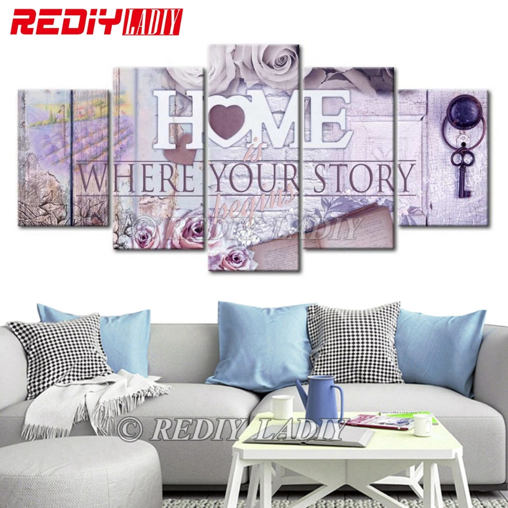 REDIY LADIY Diamond Painting Triptych Home is Where Your Story Begins 5 Panels Modular Picture 5D