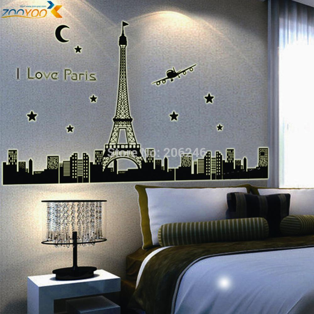 Paris eiffel tower 3d star glow stickers landscape wall stickers paris eiffel tower 3d star glow stickers landscape wall stickers home decoration diy removable wall decal bedroom in wall stickers from home garden on amipublicfo Images