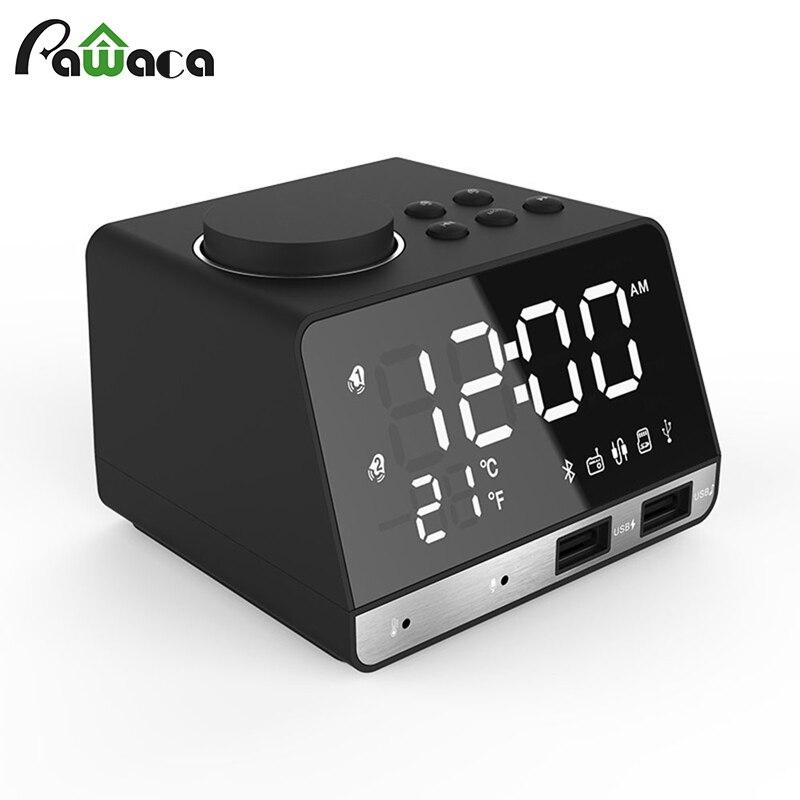 Multi-function Smart Digital Mirror Alarm Clock Dual USB LED Time Temperature Display Snooze Desktop Table Clock UK/US Plug
