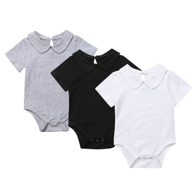 Novas Camisas da Cor Pura Do Bebê Bodysuit Infantil Macacão de Algodão de Manga Curta Macacão Recém-nascidos Das Meninas Dos Meninos Do Bebê Roupas de Verão