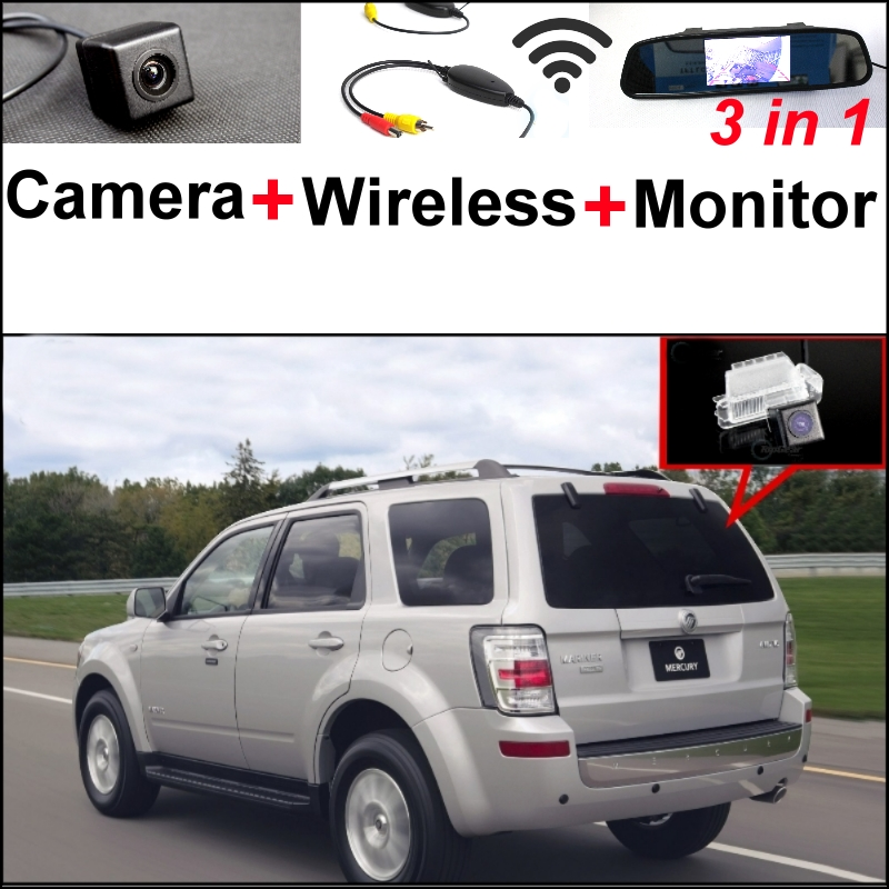 3in1 Special Rear View Camera + Wireless Receiver + Mirror Monitor Easy DIY Backup  Parking System For Mercury Mariner 2007~2012 wireless pager system 433 92mhz wireless restaurant table buzzer with monitor and watch receiver 3 display 42 call button